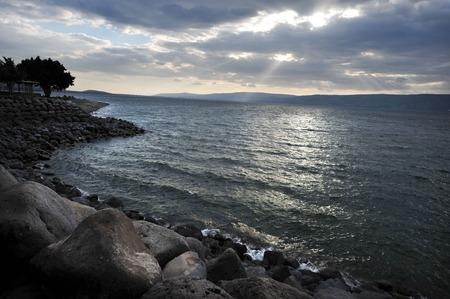 galilee: General view landsacpe of Sea of Galilee lake Kinneret, Israel.