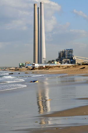 coal fired: View of Orot Rabin - Hadera Coal-Fired Power Station from Givat Olga Beach in Hadera, Israel.