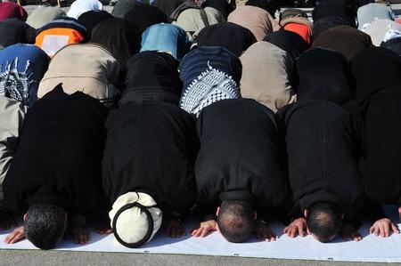 A mass muslim prayer session Stock Photo