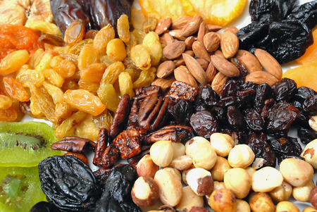 jewish group: A mixed collection of dried nuts and fruits Stock Photo