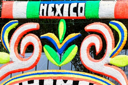 The flag of United Mexican States with the words Mexico. photo
