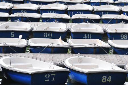 rowboats: Many Blue & White dinghy boats mooring on a lake Stock Photo