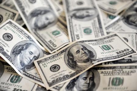 abundance: One Hundred American Dollar Bills Stock Photo
