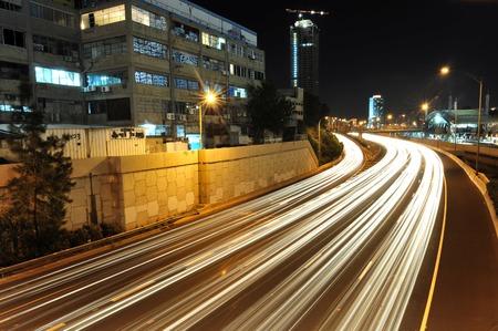 ramat aviv: Heavy traffic on Ayalon road at night in Tel Aviv, Israel.
