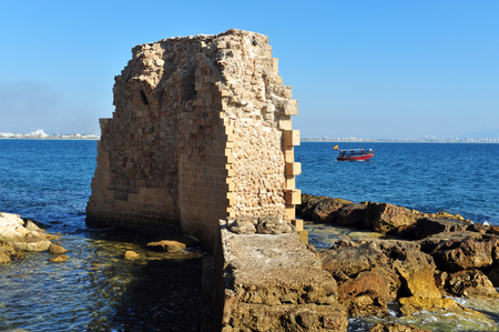 acre: The ancient walls Acre Akko, Israel.