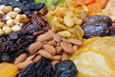 israel agriculture: A mixed collection of dried nuts and fruits Stock Photo