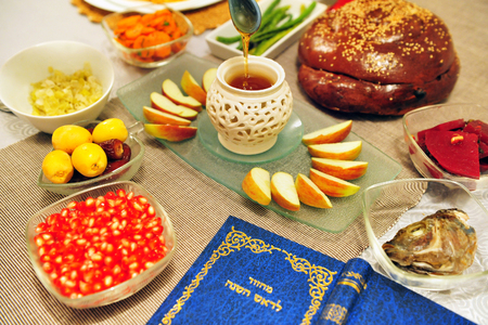 Table set for the new Jewish year greetings photo