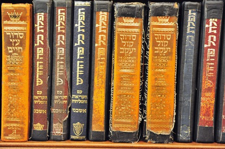 kabbalah: Old Torah books in the Wailing Wall in the Jerusaelm old city. Editorial