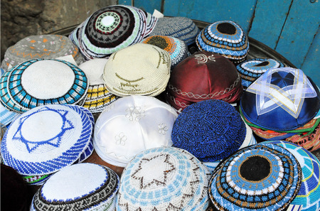 kippah: Jewish Yarmulkes for sale in shops in the Jerusalem Old City market, Israel.