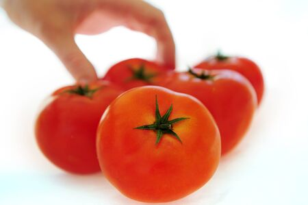 Fresh red tomatoes isolated on white with hand Stock Photo