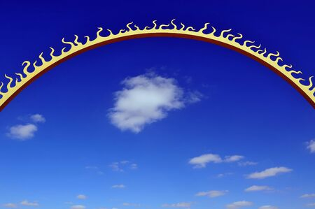 global village: Conceptual photo of a sun with the blue sky and puffy clouds in the background