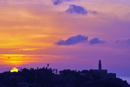 Jaffa skyline during sunset in Tel Aviv Jaffa port, Israel. photo