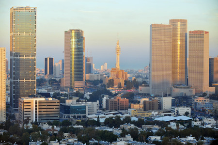 Aerial view of apartment buildings in central Tel Aviv, Israel.