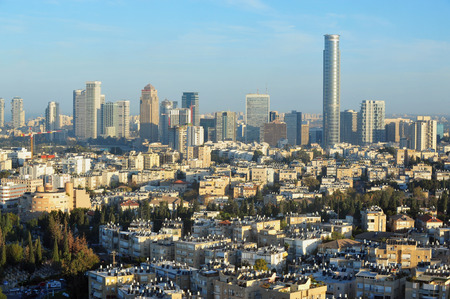 Aerial view of apartment buildings in central Tel Aviv and Ramat Gan, Israel.