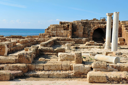 caesarea: Ruins in ancient Caesarea, Israel. Stock Photo