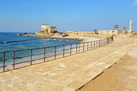 caesarea: Caesarea National park on coast of Mediterranean sea in Israel