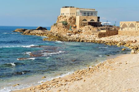 caesarea: Caesarea National park on coast of Mediterranean sea in Israel. Stock Photo