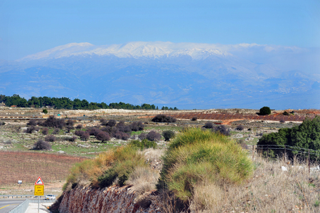 middle east conflict: Galilee landscape Mount Hermon Israel Stock Photo
