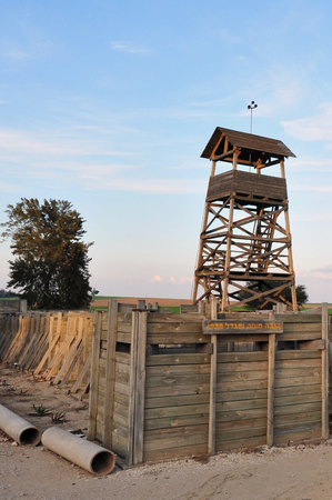 stockade: Restore Wall and Tower-  Tower and stockade - settlement method used by Zionist settlers in the British Mandate of Palestine during the 1936–39 Arab revolt. of Kibbutz Negba, Israel.