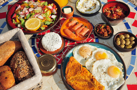 israeli: Traditional Israeli breakfast in Zimmers and country lodging in the Negev Desert. Stock Photo