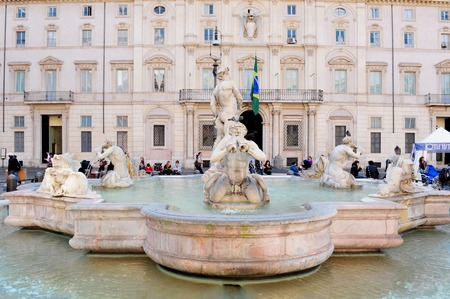 A fountain in piazza Navona, Rome Italy.