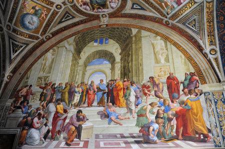 絵画タイトル、イタリアのルネサンス芸術家ラファエロのアテネの学校。それはバチカンの使徒宮殿にラファエルの委員会の一部として 1510年および