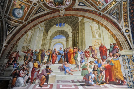 Painting titled School of Athens by the Italian Renaissance artist Raphael. It was painted between 1510 and 1511 as a part of Raphaels commission in the Apostolic Palace in the Vatican.
