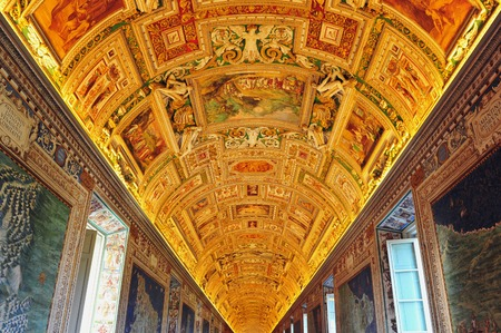 italian fresco: Fresco of the Vatican Museum,  Italy, Rome. Editorial