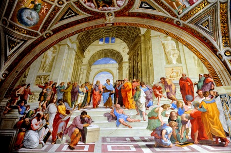 Artwork of Raphael paints at the Vatican Museum, Vatican city in Rome Italy.