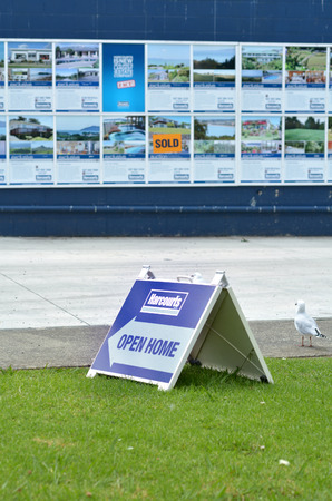 AUCKLAND, NZL - FEB 25 2015:Harcourts Open Home.Harcourts International Ltd is the largest real estate group in New Zealand, exceeding a record $22 billion in sales for the 2013 financial year.