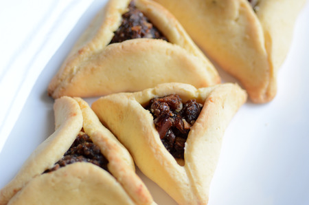 haman: Backed Hamentashen, Ozen Haman, Purim cookies for the Jewish holiday Purim.