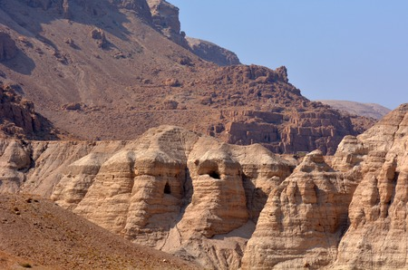 judaean desert: Qumran caves in Qumran National Park near the Dead Sea Israel where the Dead Sea Scrolls discovered between 1946 and 1956.