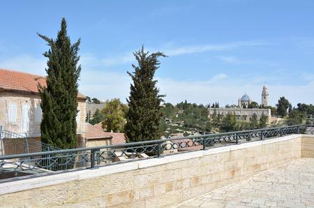 jewish home: Mount zion as view from Mishkenot Sha'ananim neighborhood in Jerusalem, Israel. Stock Photo