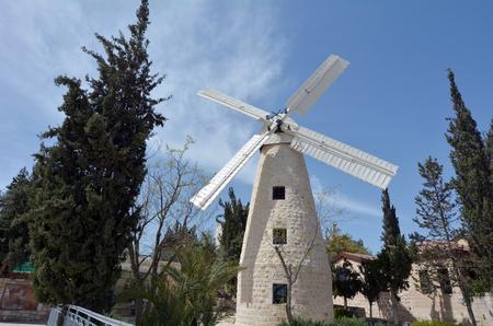 history building: Montefiore Windmill, a famous landmark in Jerusalem, Israel. Stock Photo