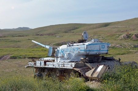 cummins: An old Israeli tank near Maale Adumim Settlement, Israel Stock Photo