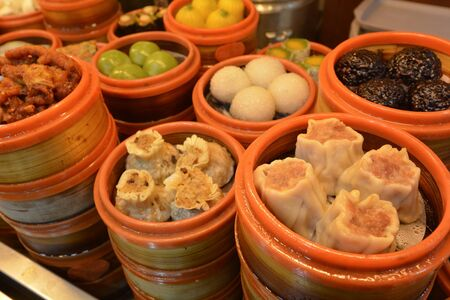 culinary tourism: Chinese Dim sum dumplings food on display in Shanghai China