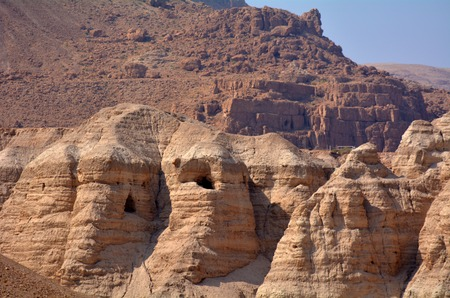 discovered: Qumran caves in Qumran National Park near the Dead Sea Israel where the Dead Sea Scrolls discovered between 1946 and 1956.