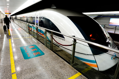 levitation: SHANGHAI, CN - MAR 18 2015:Shanghai Maglev Train -Shanghai Transrapid. The line is the first commercially operated high-speed magnetic levitation line in the world