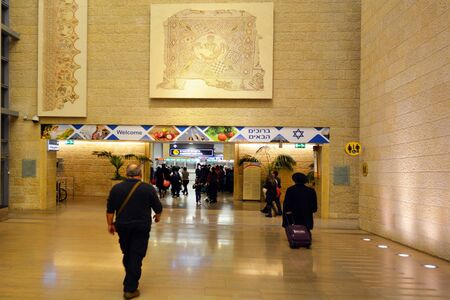 israel passport: TEL AVIV - MAR 20 2015:Passengers enters Israel in Ben Gurion Airport, Israel.It considered to be among best airports in the Middle East due to its passenger experience and its high level of security.