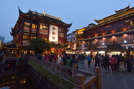 boasting: SHANGHAI, CN - MAR 16 2015:Yuyuan Tourist Mart in Shanghai, China.Yuyuan Tourist Mart is an important cultural asset and a traditional sightseeing spot in Shanghai, boasting the most beauty in the southeast.
