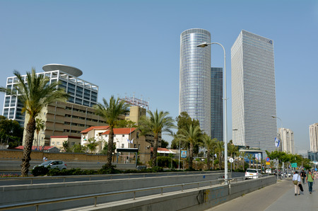 d: TEL AVIV - APR 28 2015:Azrieli Center in Tel Aviv, Israel.Due to high, constant terrorism threats, the Azrieli towers are guarded to deter terrorist action, like many buildings in Israel.