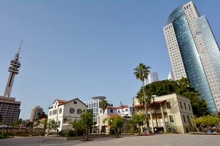 TEL AVIV - APR 28 2015:Sarona open air commercial center in Tel Aviv, Israel.Its a culture, leisure and shopping center build on 37 original restored buildings of Sarona Templar settlement from 1871