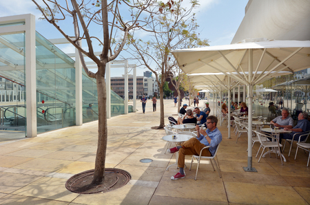 public space: TEL AVIV - APR 08 2015:Habima Square in Tel Aviv, Israel.Its a public space, home to cultural institutions such as Habima Theatre, Culture Palace and Helena Rubinstein Pavilion for Contemporary Art. Editorial