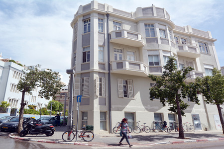 tel: TEL AVIV, ISR - APR 08 2015: White building in Tel Aviv, Israel.Tel Aviv has the largest number of buildings in the BauhausInternational Style of any city in the world. Editorial