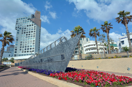 public space: TEL AVIV - APR 11 2015:Illegal immigrant ship monument in London Square in Tel Aviv, Israel.Its a public space in honour the memory of the illegal immigration struggle against the British Mandate.