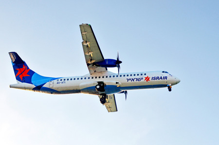 jetblue: TEL AVIV, ISR - MAR 27 2015:Israir Airlines ATR 72-200 plane.Israir is Israeli airline with international charter flights route network to Europe, Asia, Africa and North America. Editorial