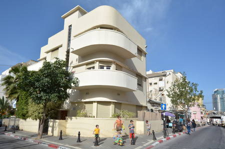 TEL AVIV, ISR - APR 27 2015: White building in Tel Aviv, Israel.Tel Aviv has the largest number of buildings in the BauhausInternational Style of any city in the world.