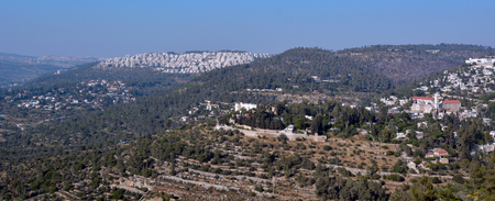 ein: Landscape of Jerusalem mountains near Ein Karem Jerusalem, Israel Stock Photo