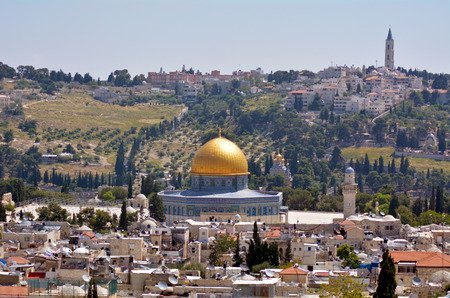 temple mount: Landscape view of the Dome of the Rock Mosque on Temple Mount  against mount of Olives in Jerusalem old city, Israel.