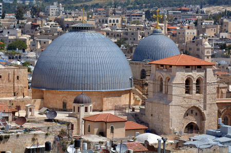 church of the holy sepulchre: Urban aerial view of the Church of the Holy Sepulchre,Church of the Resurrection, at the old city of Jerusalem, Israel.